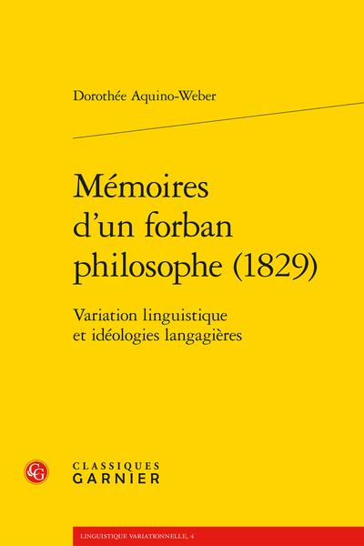 Mémoires d'un forban philosophe (1829). Variation linguistique et idéologies langagières