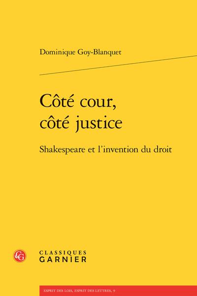 Côté cour, côté justice. Shakespeare et l'invention du droit - Bibliographie