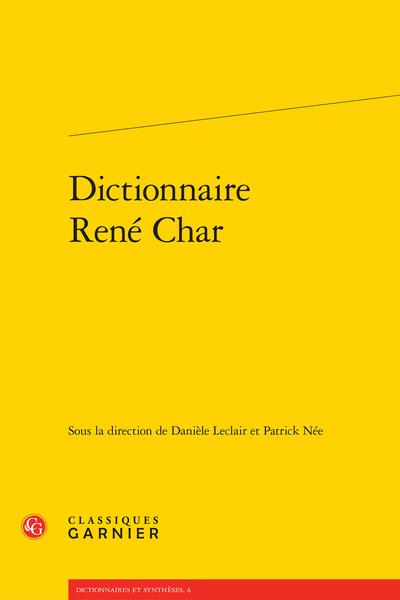 Dictionnaire René Char