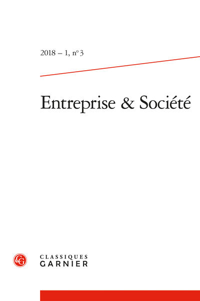 Entreprise & Société. 2018 – 1, n° 3. varia - Les transformations du marché et la RSE