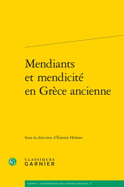 Mendiants et mendicité en Grèce ancienne
