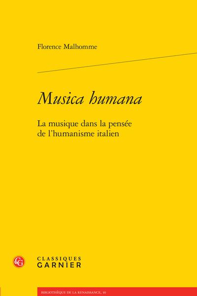 Musica humana. La musique dans la pensée de l'humanisme italien
