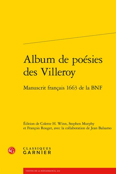 Album de poésies des Villeroy. Manuscrit français 1663 de la BNF
