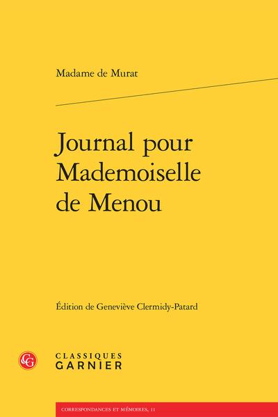 Journal pour Mademoiselle de Menou