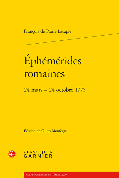 Éphémérides romaines. 24 mars – 24 octobre 1775