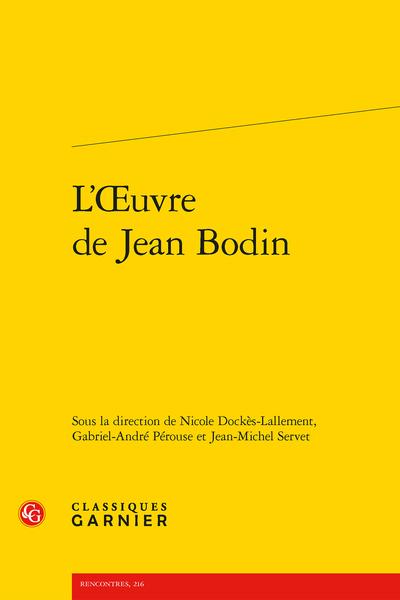 L'Œuvre de Jean Bodin