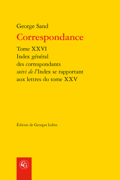 Correspondance. Index des correspondants