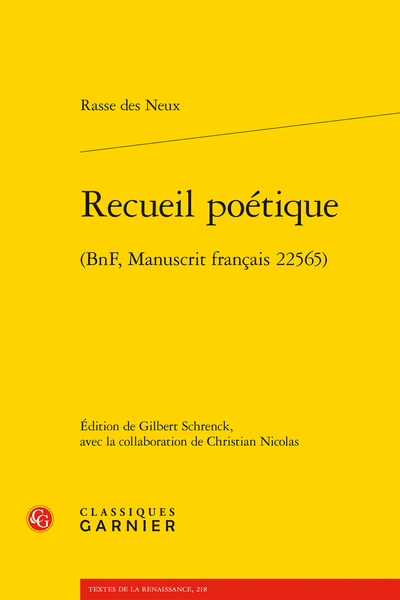 Recueil poétique. (BnF, Manuscrit français 22565) - Table des matières