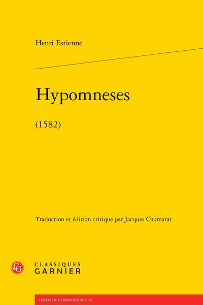 Hypomneses. (1582)