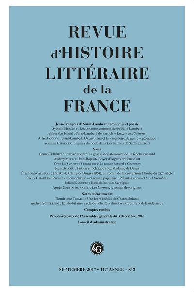 Revue d'Histoire littéraire de la France. 3 – 2017, 117e année - n° 3. varia