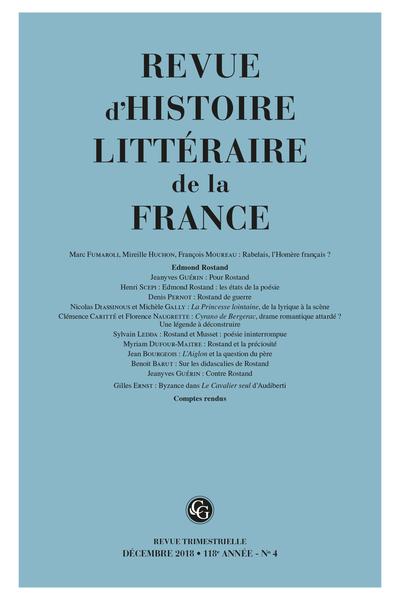Revue d'Histoire littéraire de la France. 4 – 2018, 118e année - n° 4. varia