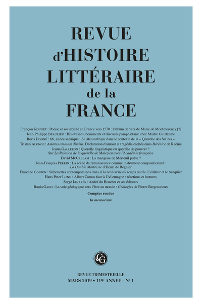 Revue d'Histoire littéraire de la France. 1 – 2019, 119e année - n° 1. varia