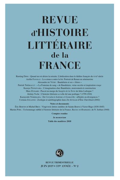 Revue d'Histoire littéraire de la France. 2 – 2019, 119e année - n° 2. varia - Sommaire