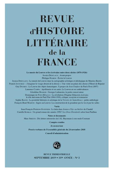 Revue d'Histoire littéraire de la France. 3 – 2019, 119e année - n° 3. varia - La postérité littéraire et artistique de la Victoire de Samothrace : petite anthologie