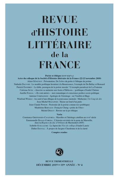 Revue d'Histoire littéraire de la France. 4 – 2019, 119e année - n° 4. varia