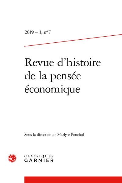 Revue d'histoire de la pensée économique. 2019 – 1, n° 7. varia