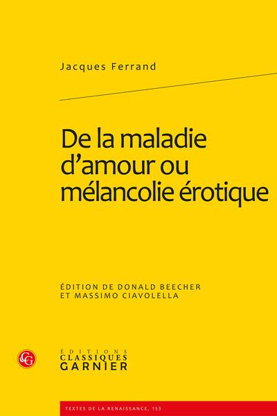 De la maladie d'amour ou mélancolie érotique - Index des noms cités