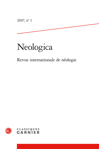 Neologica. 2007, n° 1. Revue internationale de néologie