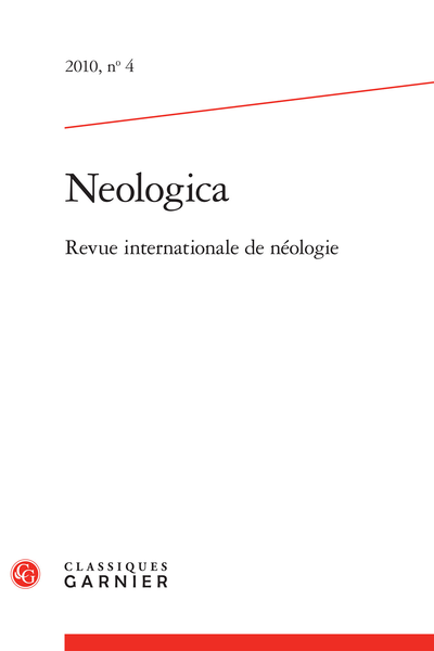 Neologica. 2010, n° 4. Revue internationale de néologie
