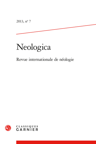 Neologica. 2013, n° 7. Revue internationale de néologie