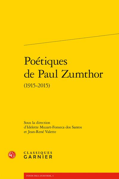 Poétiques de Paul Zumthor (1915-2015)