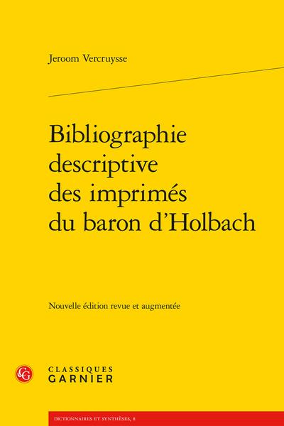 Bibliographie descriptive des imprimés du baron d'Holbach