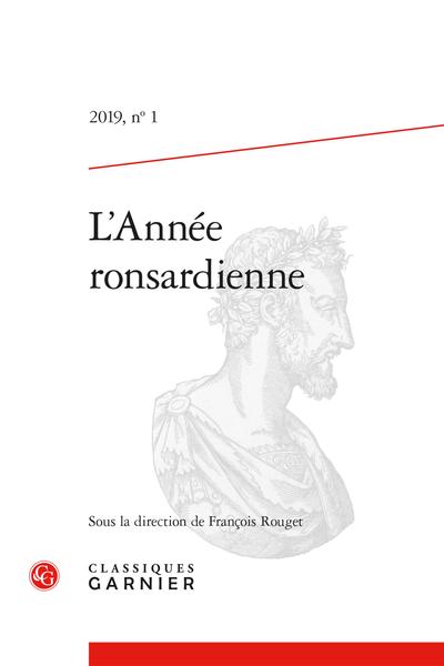 L'Année ronsardienne. 2019, n° 1. varia