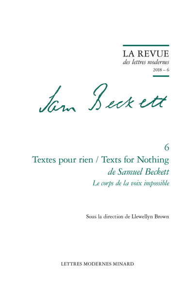Textes pour rien / Texts for Nothing de Samuel Beckett. 2018 – 6. Le corps de la voix impossible