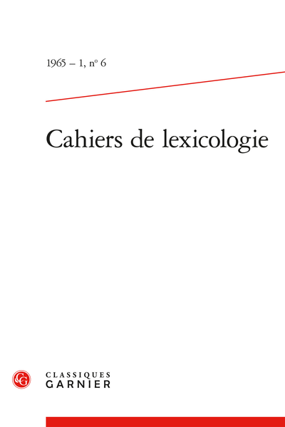Cahiers de lexicologie. 1965 – 1, n° 6. varia - Transformations linguistiques et classification lexicale