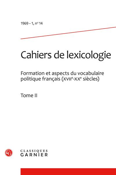 Cahiers de lexicologie. 1969 – 1, n° 14. varia - Sommaire