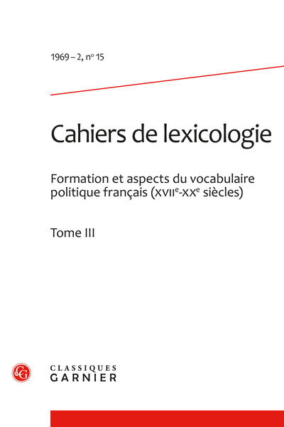 Cahiers de lexicologie. 1969 – 2, n° 15. varia