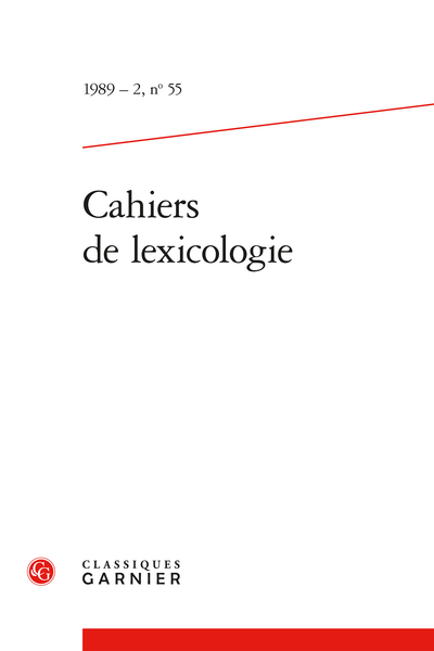 Cahiers de lexicologie. 1989 – 2, n° 55. varia - L'expression linguistique de la relation de suspension