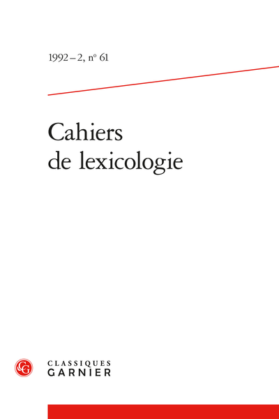 Cahiers de lexicologie. 1992 – 2, n° 61. varia