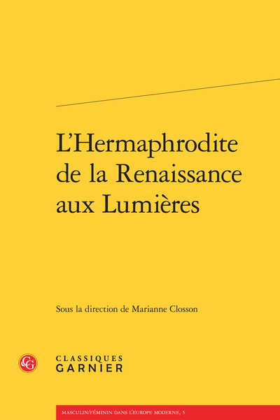 L'Hermaphrodite de la Renaissance aux Lumières