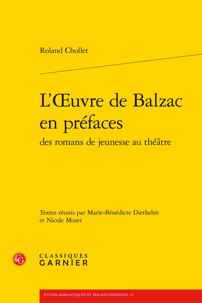 L'Œuvre de Balzac en préfaces des romans de jeunesse au théâtre