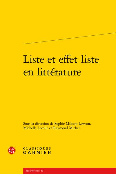 Liste et effet liste en littérature