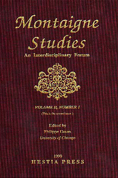 Montaigne Studies. 1990 An Interdisciplinary Forum, n° 2. varia