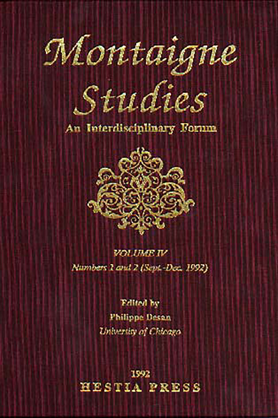 Montaigne Studies. 1992 An Interdisciplinary Forum, n° 4. varia