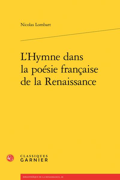 L'Hymne dans la poésie française de la Renaissance