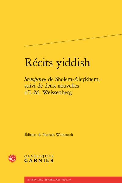 Récits yiddish. Stempenyu de Sholem-Aleykhem, suivi de deux nouvelles d'I.-M. Weissenberg