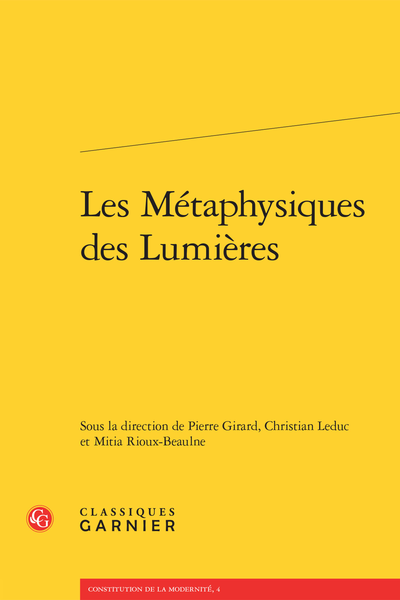 Les Métaphysiques des Lumières - Introduction