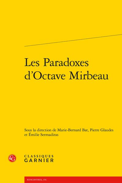 Les Paradoxes d'Octave Mirbeau - Table des matières
