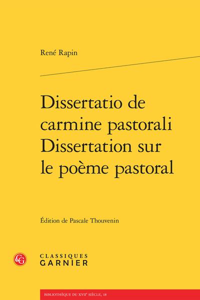 Dissertatio de carmine pastorali / Dissertation sur le poème pastoral