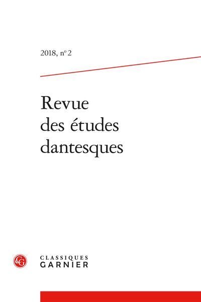 Revue des études dantesques. 2018, n° 2. varia