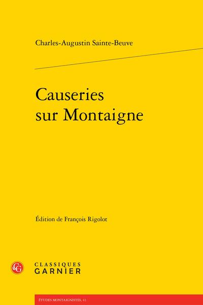 Causeries sur Montaigne