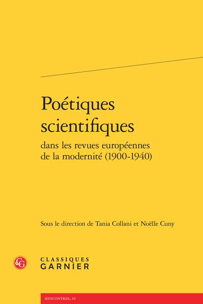Poétiques scientifiques dans les revues européennes de la modernité (1900-1940)