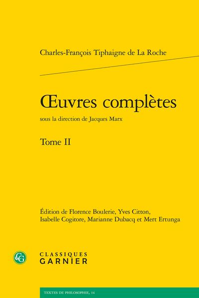 Œuvres complètes. Tome II - Table des matières