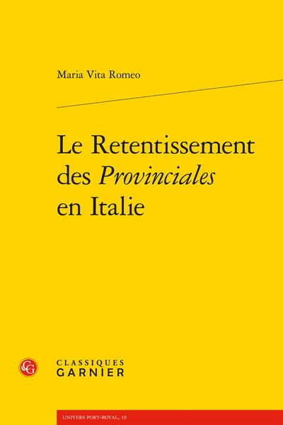 Le Retentissement des Provinciales en Italie