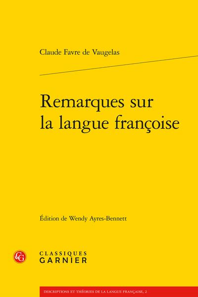 Remarques sur la langue françoise